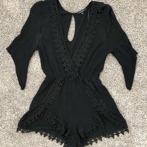 Ambiance Black 3/4 Sleeve Romper - Size M